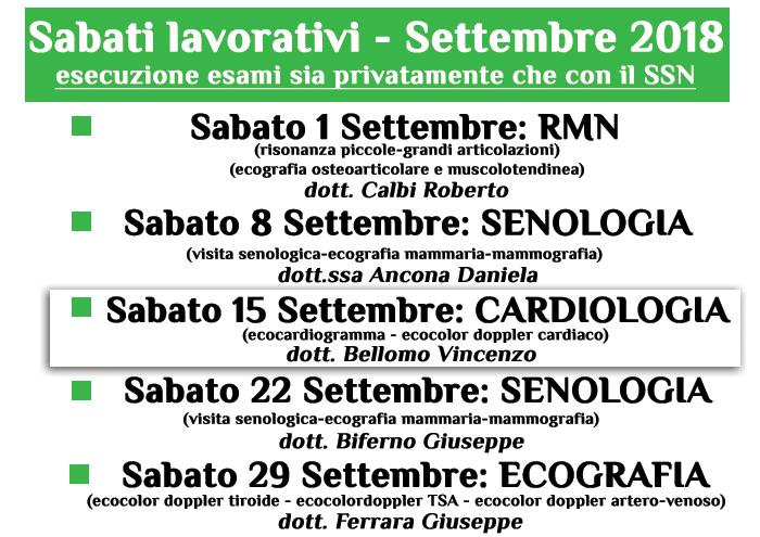Sabati lavorativi settembre 2018